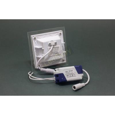 Светодиодный светильник Glass Rim 6W 3000K теплый, квадрат