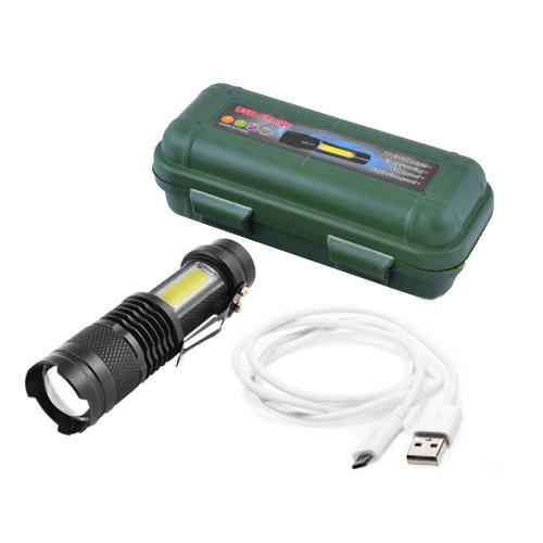 Светодиодные фонарики аккумуляторные 1812 T6 + COB zoom