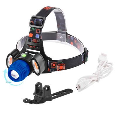 Фонарик налобный + велосипедный LED с акумулятором 3117 T6 + 2COB
