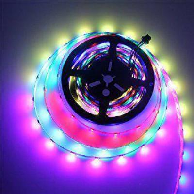 Адресная светодиодная лента RGB RW SMD 5050 5V 30 д.м. IP20 1LED WS2812b черная основа (цена 1м)