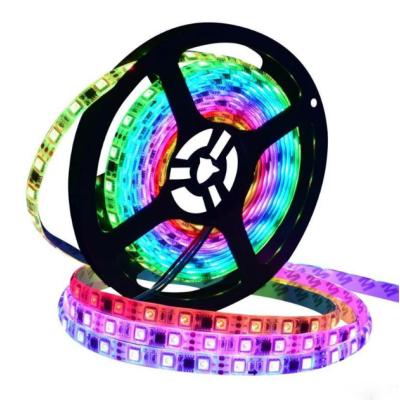 Адресная светодиодная лента RGB SMD 5050 12V 60 д.м. IP65 WS2811 (цена 1 м) черная основа