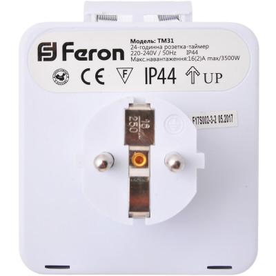 Розетка с таймером Feron TM31/61924 3500W/16A (суточная) с пыле-влагозащитой IP 44