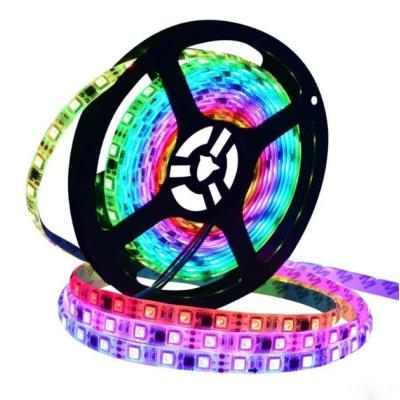 Адресная светодиодная лента RGB SMD 5050 12V 60 д.м. IP65 WS2811 (цена 1м) белая основа