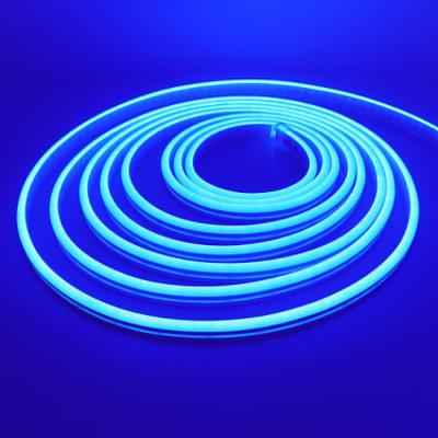 Неоновая лента 2835-12V-120-10W/m IP68 6*12mm SILICONE голубой лед (цена 1м)