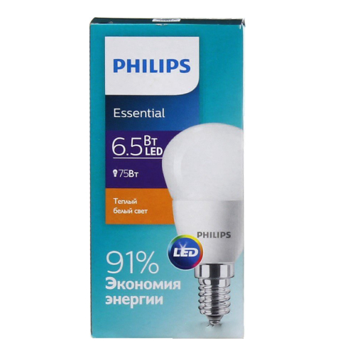 Лед лампы Philips Essential, цоколь E14, 6,5W, 2700К