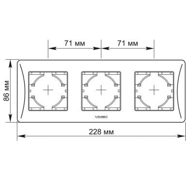 Рамка 3-местная Videx Binera пластик кремовый горизонтальная