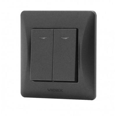 Выключатель двухклавишный с подсветкой VIDEX BINERA черный графит