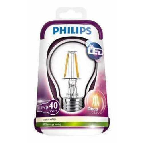 Лед лампы Philips Fila 4.3W 3000К E27 филаментная